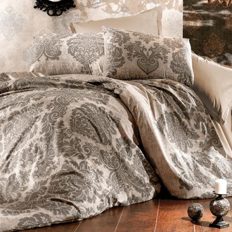 Parure de lit taupe et beige