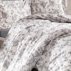 Parure de lit blanche et grise coton