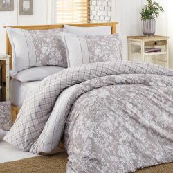 Parure de lit taupe avec motifs blancs