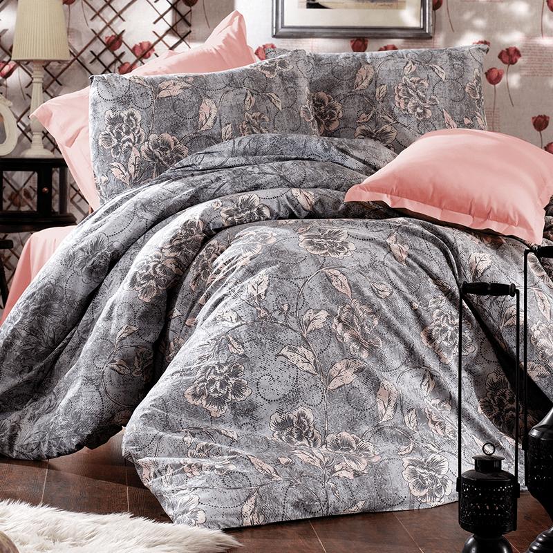 Parure de lit grise et rose