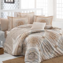 Parure de lit beige avec motifs