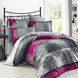 Parure de lit gris et rose