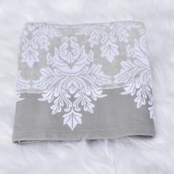 Serviette de bain Ayda gris et blanc 50 x 80 cm 100% coton velours