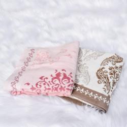 Serviette de bain Cannelle 50 x 90 cm blanche, beige et marron 100% coton velours