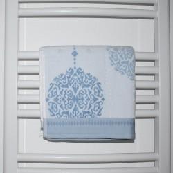 Serviette de bain Greta motif bleu 50 x 90 cm 100% coton