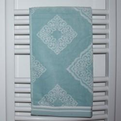 Serviette de bain Mabel menthe et blanc 50 x 90 cm 100% coton velours