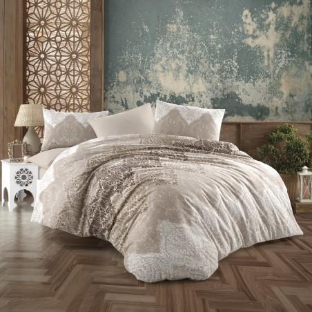 Parure de lit beiges avec motifs taupes