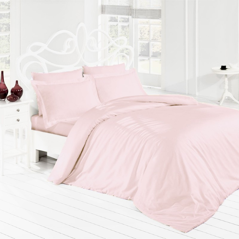 Parure de lit rose unicolore