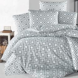 Parure de lit en coton grise et blanche